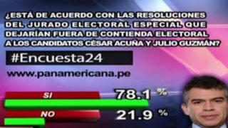 Encuesta 24: 78.1% de acuerdo con decisión del JEE en casos Acuña y Guzmán