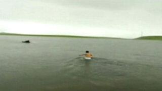 Sereno rescata a tres niños de una laguna en Pasco