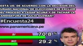 Encuesta 24: 70.8% de acuerdo con decisión del JNE en casos Acuña y Guzmán