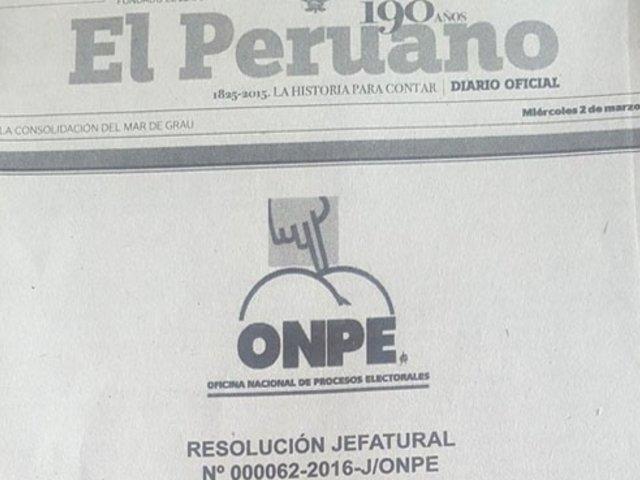 Polémica: diario oficial El Peruano confunde logo de la Onpe