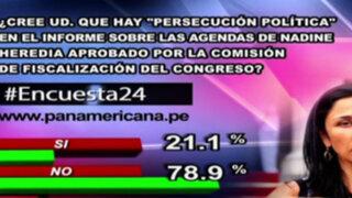 Encuesta 24: 78.9% no cree que haya persecución en informe sobre agendas