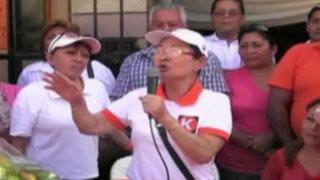 Huaral: Susana Higuchi reitera apoyo a su hija Keiko Fujimori