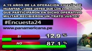 Encuesta 24: 87.1% no cree que comandos Chavín de Huántar recibieron trato justo