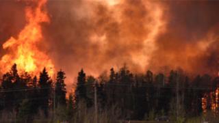 Miles de evacuados por incendio forestal en Canadá