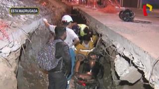 San Isidro: dos hombres resultan heridos al caer moto a zanja