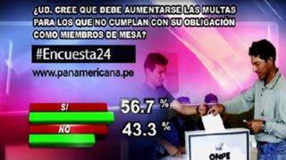 Encuesta 24: 56.7% cree que debe aumentarse multas para miembros de mesa que no cumplan su deber
