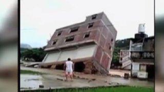 Edificio en China colapsó a causa de las fuertes lluvias
