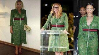 Laura Bozzo luce el mismo vestido que Rihanna y Julia Roberts