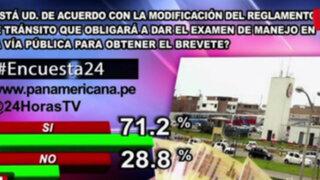 Encuesta 24: 71.2% de acuerdo con que exámenes de manejo se hagan en la calle
