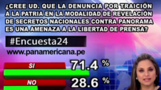 Encuesta 24: 71.4% cree que denuncia contra Panorama es amenaza a la libertad de prensa