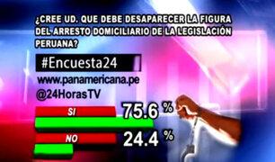 Encuesta 24: 75.6% a favor de eliminación del arresto domiciliario