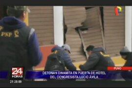 Puno: detonan explosivos en puerta de hotel de congresista electo