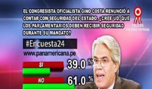 Encuesta 24: 61% considera que parlamentarios no deben recibir seguridad durante su mandato