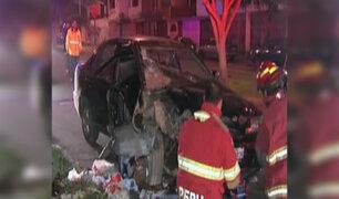 Esposos resultan heridos tras choque automovilístico en Surco