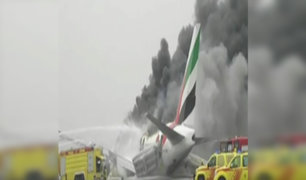 Dubái: avión se incendia tras aterrizaje de emergencia