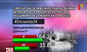 Encuesta 24: 64.2% a favor de que se investigue a anterior gobierno por escuadrón de la muerte