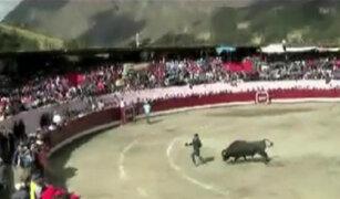Áncash: toro embiste a sujeto ebrio que irrumpió en ruedo