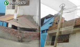 San Juan de Miraflores: Se apoderan de vereda y de poste de alumbrado público
