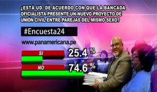 Encuesta 24: 74.6% en contra que oficialismo presente nuevo proyecto de Unión Civil