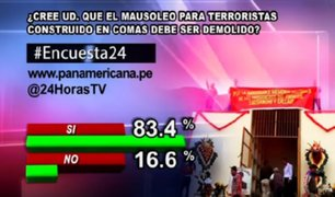 Encuesta 24: 83.4% cree que se debe demoler el mausoleo para terroristas ubicado en Comas
