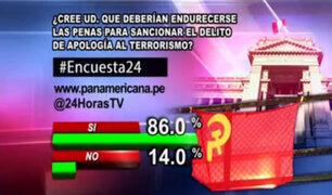 Encuesta 24: 86.0% cree que deben endurecer las penas contra delitos de apología al terrorismo
