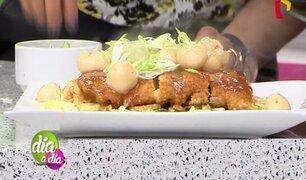 Receta del pollo al panko en salsa de laychi y ajonjolí