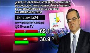 Encuesta 24: 69.1% cree oportuno interpelar al ministro Saavedra por retraso en Juegos Panamericanos