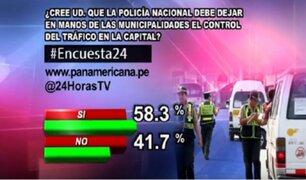 Encuesta 24: 58.3% cree que las Municipalidades deben encargarse del tráfico de su distrito
