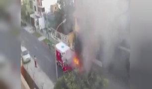 Pueblo Libre: se incendia ambulancia de Bomberos