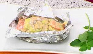 Prepara fácil y rápido una exquisita Trucha con langostinos en Papillote