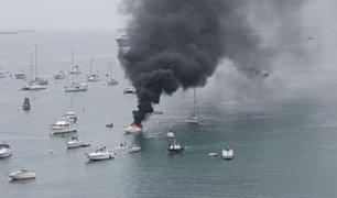 Yate se incendia en playa de La Punta