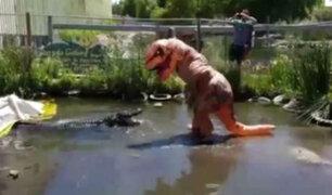 Un sujeto disfrazado de Tiranosaurio Rex molesta a un enorme lagarto