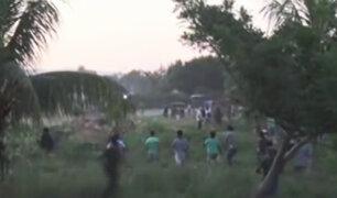 Batalla campal entre invasores de terrenos en Tarapoto