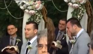 Video de novio llorando en su boda causa revuelo en redes sociales