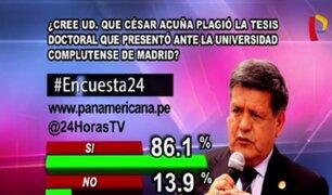 Encuesta 24: 86.1% cree que Acuña plagió tesis que presentó ante Universidad Complutense