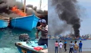 Incendio de embarcación en Paita deja 4 pescadores heridos