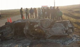 La Libertad: auto se incendia tras choque y deja cuatro muertos