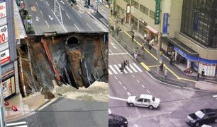 Japón: Socavón reparado en tiempo récord se hundió nuevamente