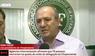 Dirigente de club Chapecoense llora al declarar sobre la tragedia
