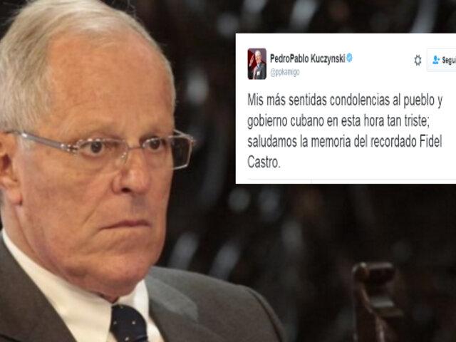 Presidente Kuczynski expresó sus condolencias por muerte de Fidel Castro