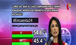 Encuesta 24: 54.6% cree que juez le dará a Nadine beneficio de firmar en Suiza