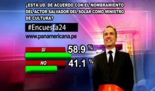 Encuesta 24: 58.9% de acuerdo con nombramiento de Salvador del Solar como ministro de Cultura