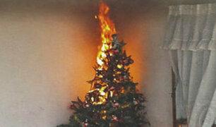 Cuidado con incendios provocados por los árboles de Navidad