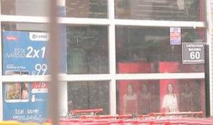 Delincuentes intentaron robar conocido supermercado en Surco