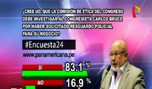 Encuesta 24: 83.1% cree que Carlos Bruce debe ser investigado por pedir resguardo policial para su negocio