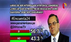 Encuesta 24: 56.7% cree que ministro Jaime Saavedra debe ser censurado