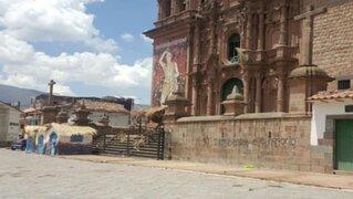 Cusco: Aparecen pintas en frontis de la iglesia de San Sebastián