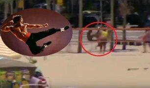 YouTube: bañista reduce a ladrón con una patada voladora al estilo de Bruce Lee