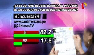 Encuesta 24: 82.2% cree que se debe eliminar pago por Gasoducto del Sur en recibos de luz