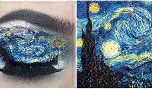 La adolescente que recrea obras de arte sobre sus párpados
